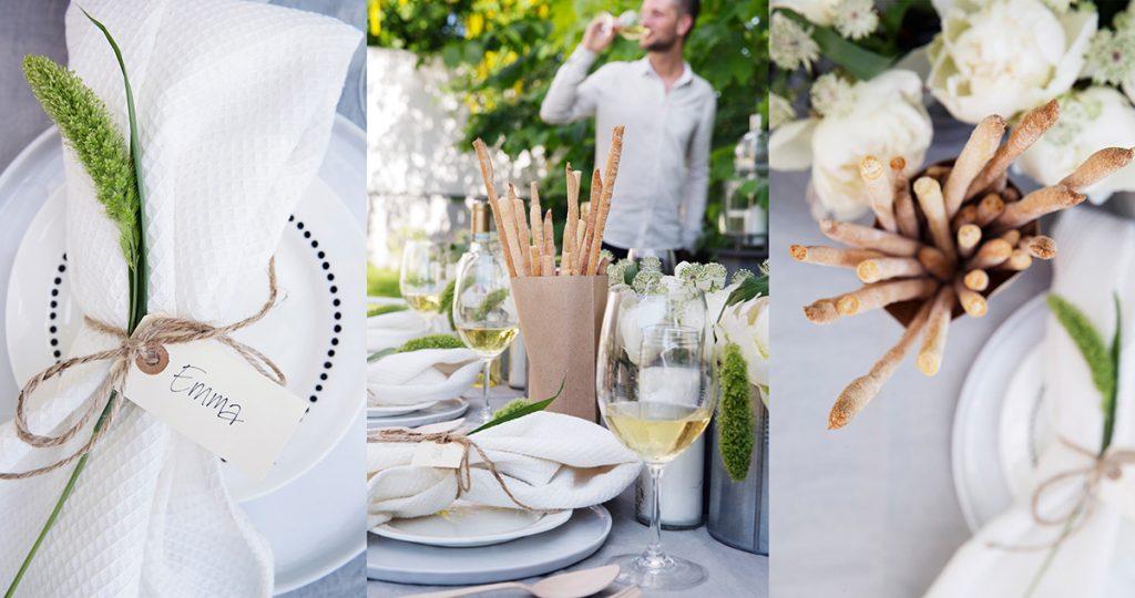 sommerfest bord hvitt vin