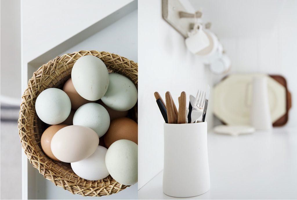 egg kjøkken styling hvitt