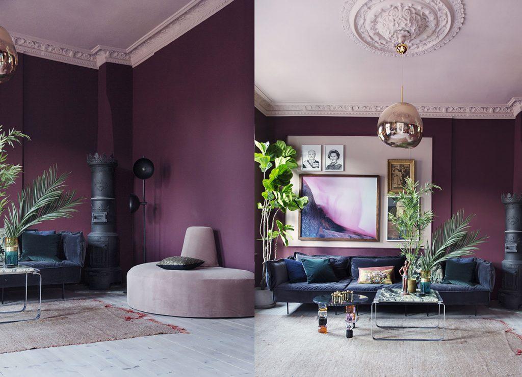 lilla stue interiør takmaling