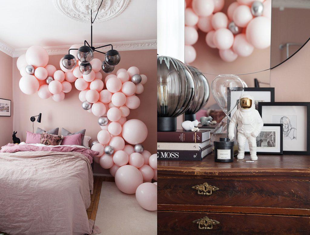 soverom styling ballonger rosa